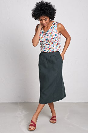 Saturation Skirt, Long Linen Skirt A-Line - Seasalt Cornwall