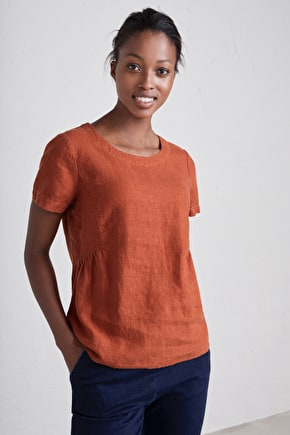 Stone Worker Top, Sun-faded Linen Shirt