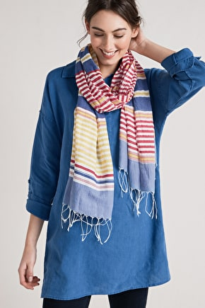 Regatta, Cotton Striped Lightweight Cotton Scarf - Seasalt