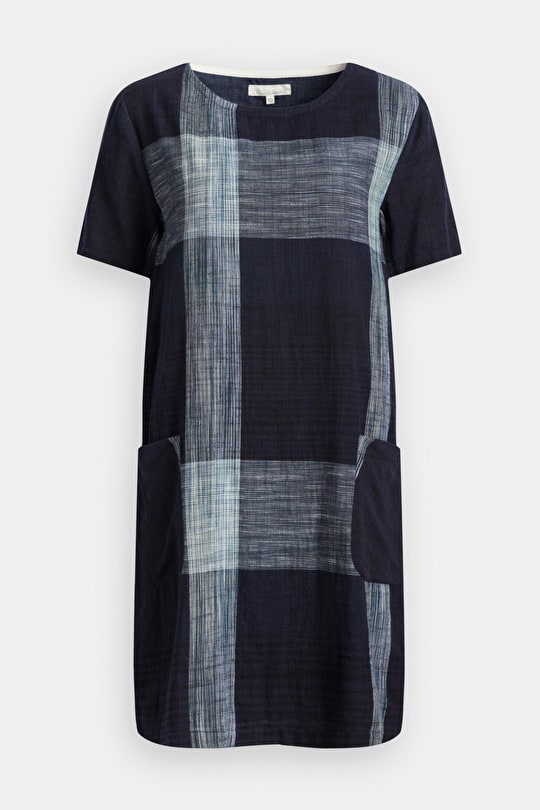 Cast Shadow Dress, Cotton Chambray Checked Knee Length - Seasalt