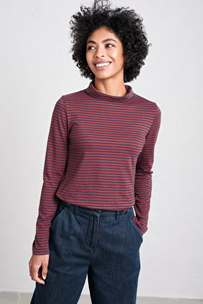 Organic Cotton Striped Top. With Slouchy Roll Neck - Seasalt