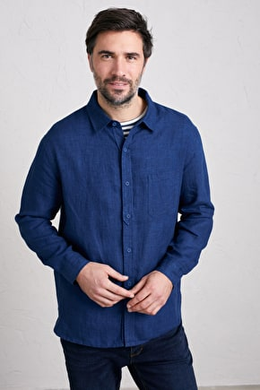 Men's Curator Shirt, Easy Fitting Melange Linen Shirt - Seasalt Cornwall