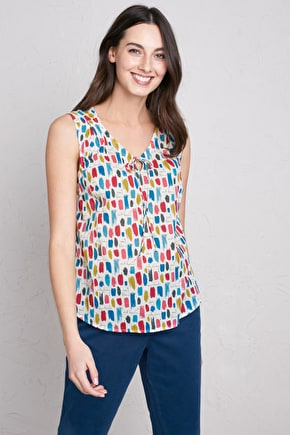 Cobbs Well Top, Printed Cotton V-neck Sleeveless Blouse - Seasalt