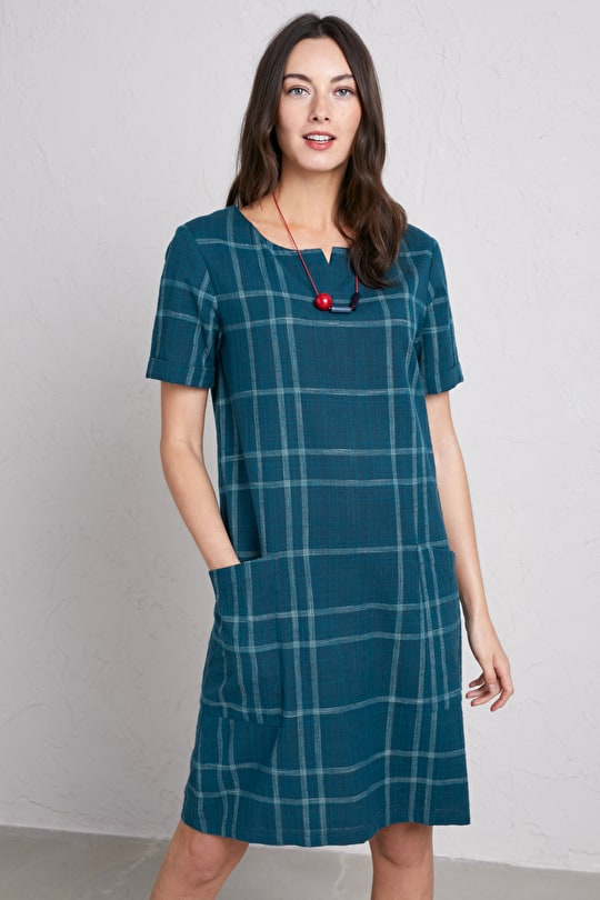 Boscubben Dress, Cotton Chambray Shift Dress - Seasalt Cornwall