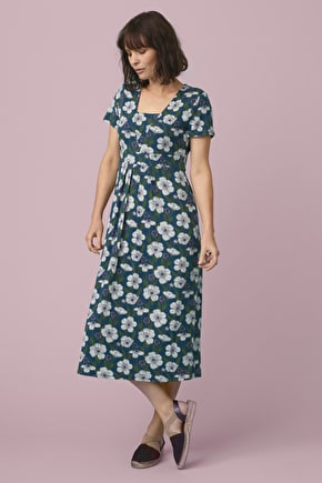Short-sleeved Seed Packet Dress, Bamboo Midi Dress - Seasalt Cornwall