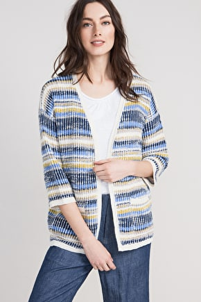 Rosebay Cardigan, Striped Cotton Knitted Cardi - Seasalt