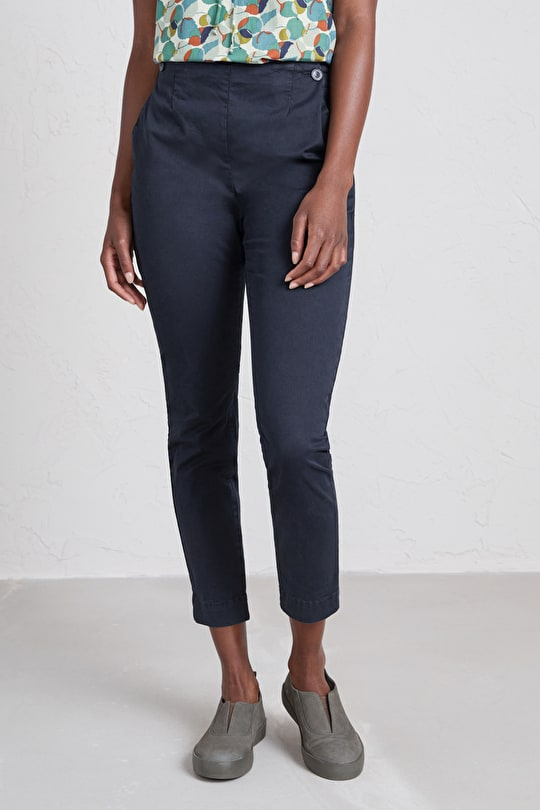 Charred Oak Trousers, Cotton Poplin Elasticated Trousers - Seasalt