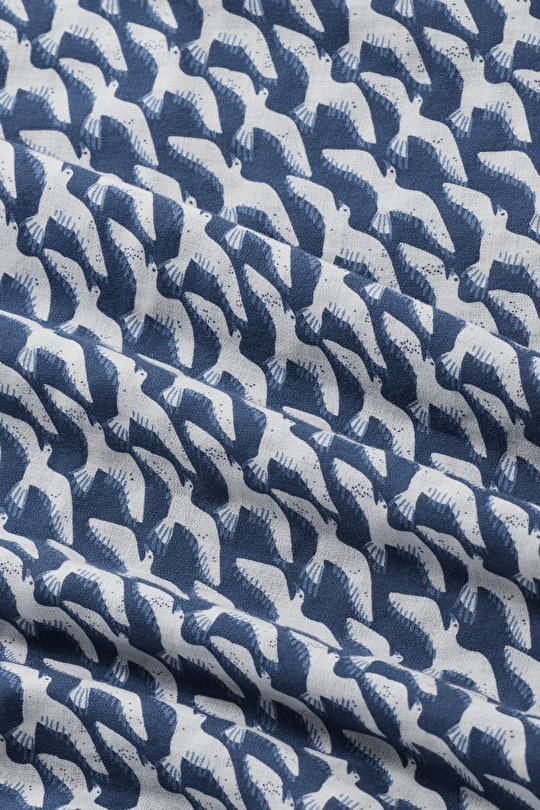 Printed Cotton Crepe Fabric - Seasalt