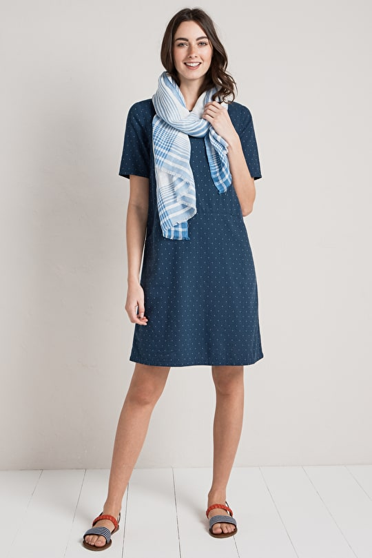 Waymarker Dress, Woven Double Cloth Cotton Dress - Seasalt