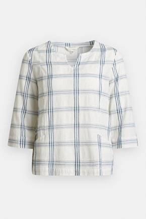 Ambient Light Top, Pure Cotton Checked 3/4 Length - Seasalt Cornwall