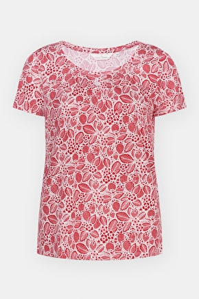 Appletree Top, Scoop Neck Bamboo Patterned T-Shirt - Seasalt