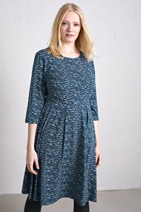 Flattering Fit & Flare Sleeved Jersey Dress with Organic Cotton