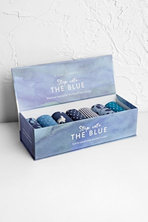 Women's Blueprint Box O' Socks in Organic Cotton & Bamboo - Seasalt