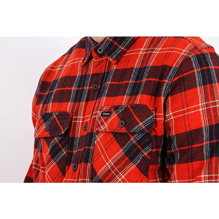 Brixton Bowery Long Sleeve Flannel Shirt - Red/Navy