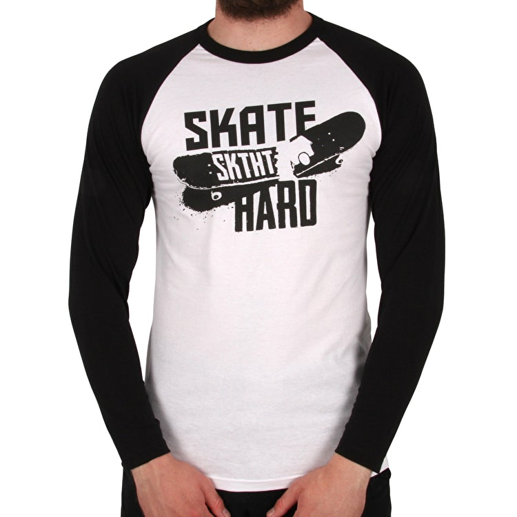 SkateHut Skate Hard Raglan Long Sleeve T-Shirt - White/Black