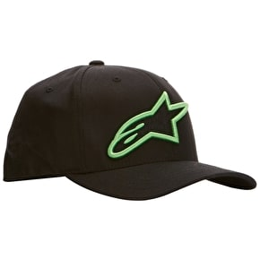 Alpinestars Logo Star Flexfit Cap - Black/Monster Green