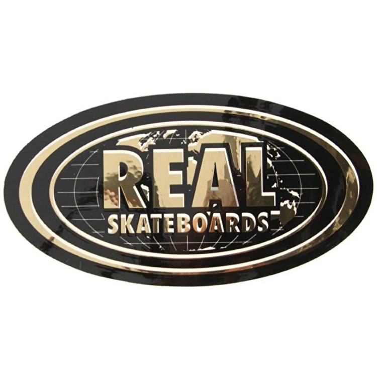 Real Gold World Oval Sticker