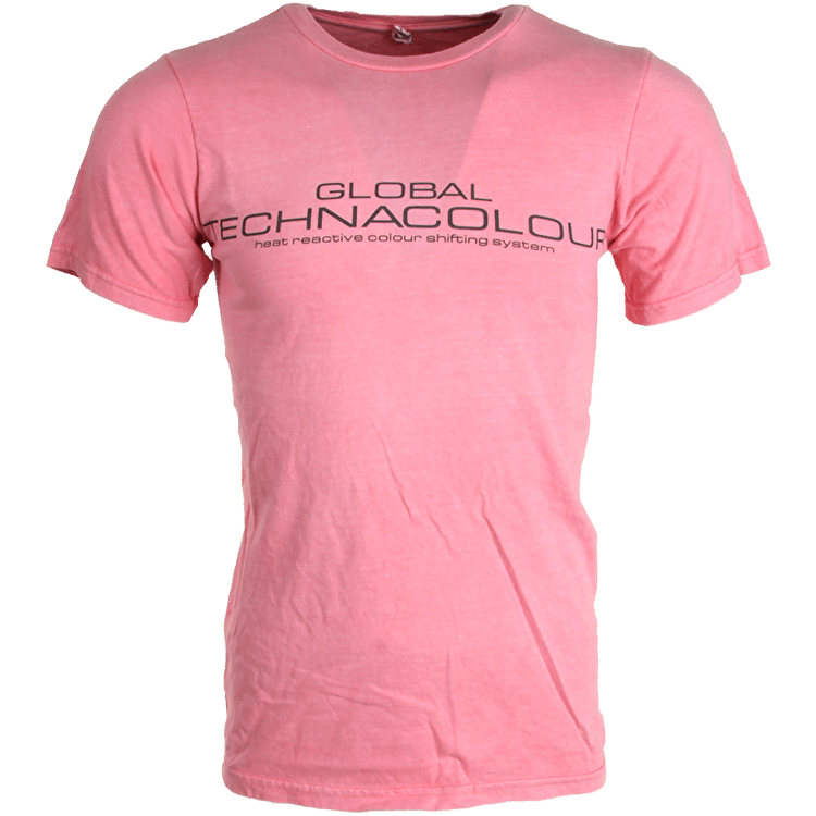 Global Technacolour Graphic T-Shirt - Pink into White