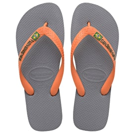 B-Stock Havaianas Brazil Logo Flip-Flops - Steel Grey/Neon Orange UK 11/12 (Box Damage)