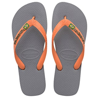 Havaianas Brazil Logo Flip-Flops - Steel Grey/Neon Orange