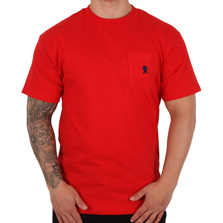 Grizzly Embroidered Pocket T Shirt - Red/Navy