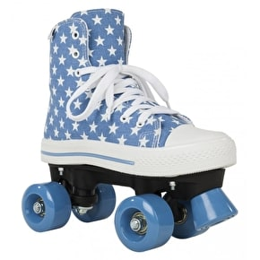 B-Stock Rookie Quad Skates - Canvas High Stars Blue/White UK 5 (Marked toes)