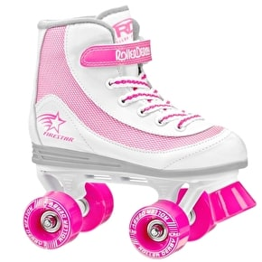 B-Stock Roller Derby FireStar V2 Quad Skates - White/Pink - Junior UK 13 (Box Damage)