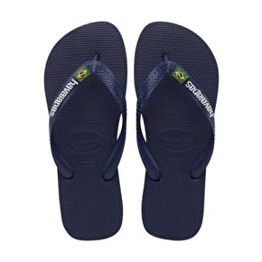 B-Stock Havaianas Brazil Logo - Navy Blue Junior UK8/9 (Packaging Damage)