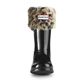Hunter Kids Wellington Boots Socks Leopard Brown
