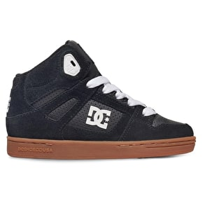 DC Rebound Kids Skate Shoes - Black/Gum