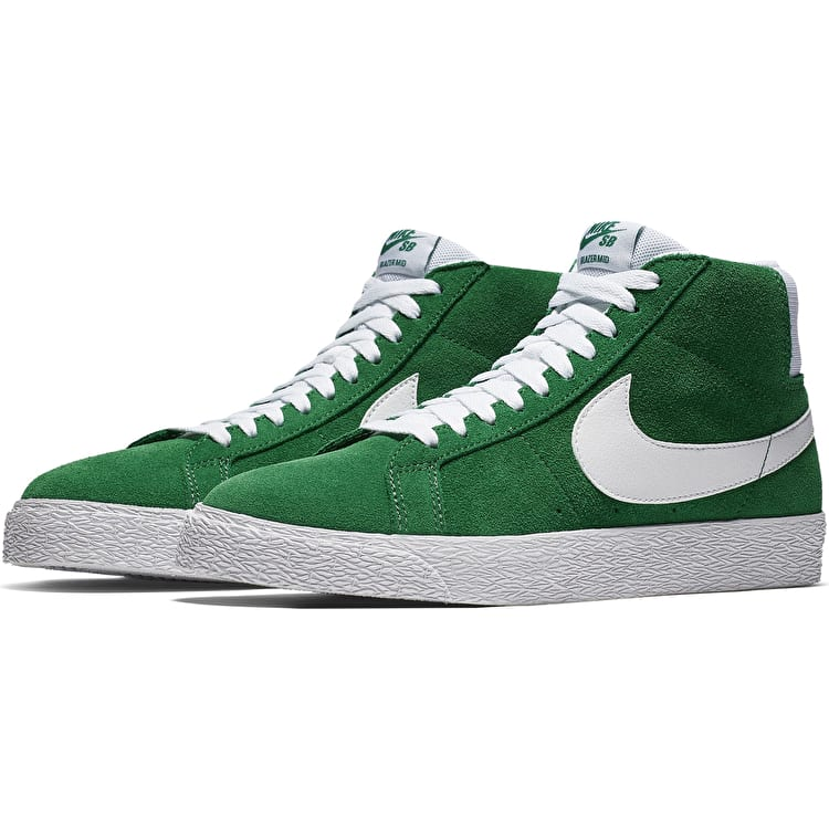 Nike SB Zoom Blazer Mid Skate Shoes - Pine Green/White