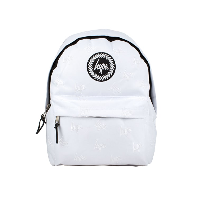 Hype White/White Embroidered Backpack