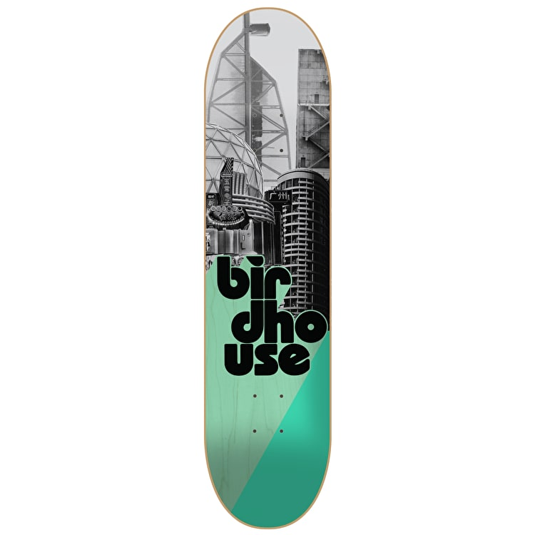 Birdhouse Stacked Logo Skateboard Deck - Grey/Mint 7.75""