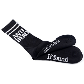 Anti Hero Black Hero If Found Socks - Black/Grey