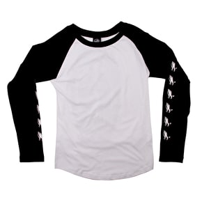 Santa Cruz Guadalupe Cut & Sew Longsleeve Baseball Womens T-Shirt - Black/White