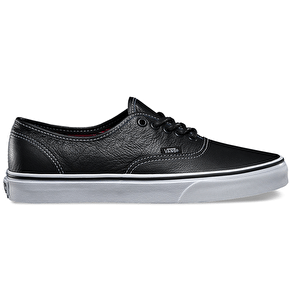 Vans Authentic Shoes - (Leather) Black/Plaid