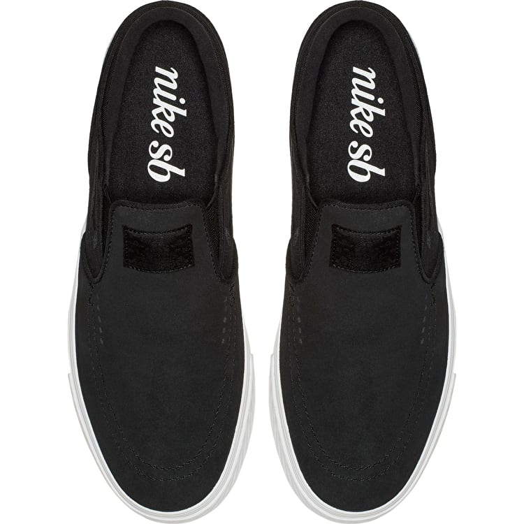 Nike SB Zoom Stefan Janoski Slip-On Skate Shoes - Black/Black-White