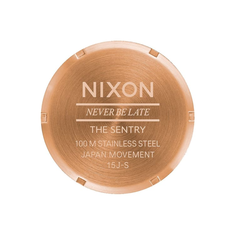 Nixon Sentry Leather Watch - Rose Gold/Navy/Brown