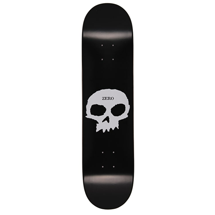 Zero Single Skull Skateboard Deck - Black/White 7.75""