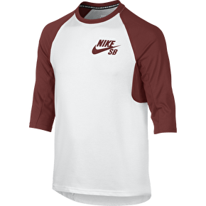 Nike SB Icon 3/4 Raglan Kids T-Shirt - White/Dark Cayenne