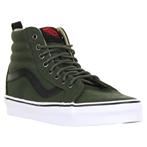 Vans Sk8-Hi Reissue PT Skate Shoes - (Military Twill) Rifle Green/True White