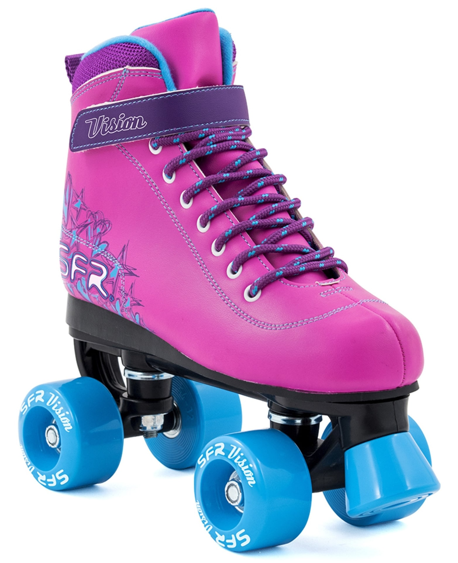 sfr vision ii quad roller skates pink blue sfr protection sfr pads sfr helmets inline. Black Bedroom Furniture Sets. Home Design Ideas