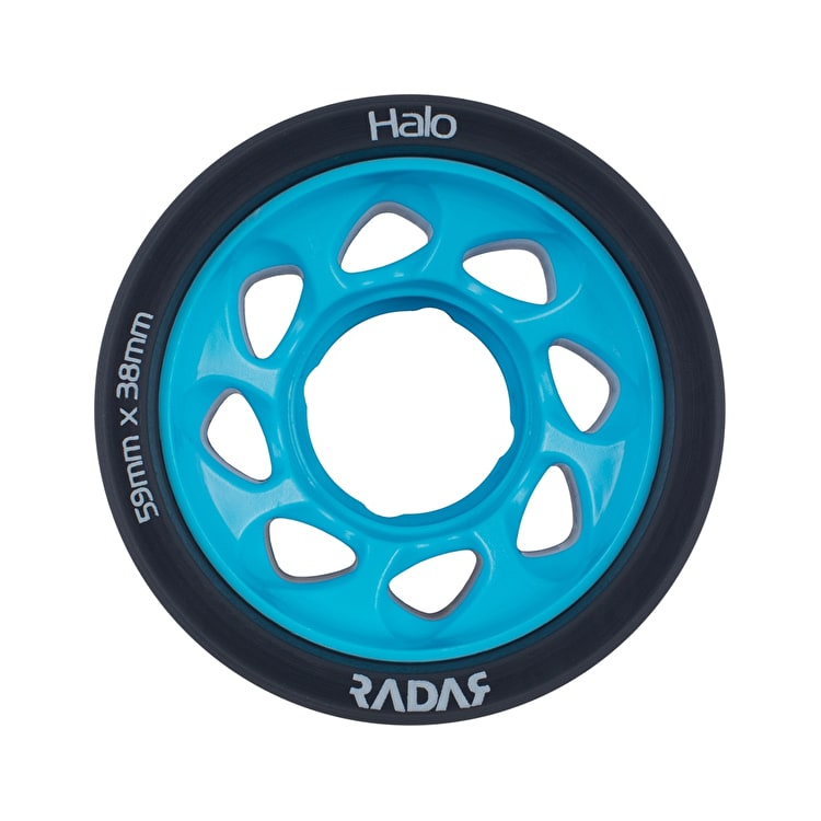 Radar Halo 59mm Roller Skate Wheels x 4 - Charcoal/Blue 95a