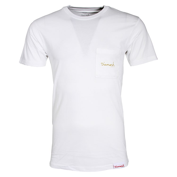 Diamond Mini OG Script Pocket T-Shirt - White