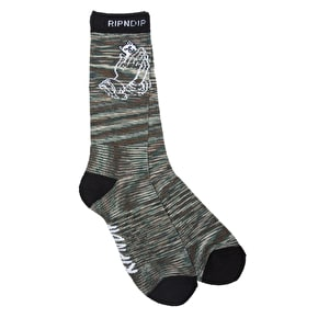 RIPNDIP Praying Hands Camo Socks - Army