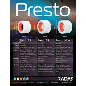 RADAR Presto Wheels 93A Slim- Grey/Red 62mm