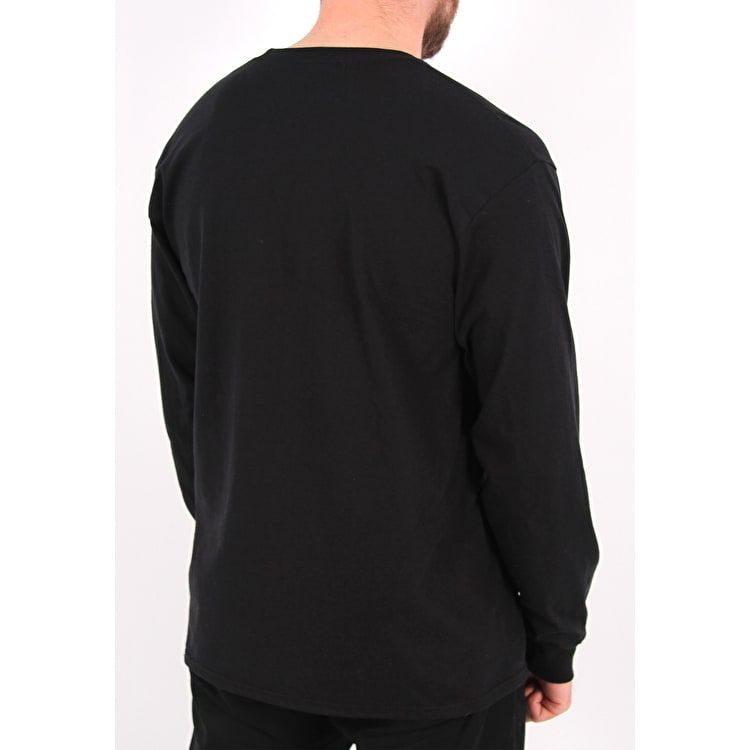 SkateHut Sleeve Script Long Sleeve T Shirt - Black/White