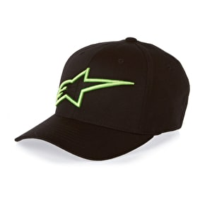 Alpinestars Logo Astar Curved Flexfit Cap - Black/Monster Green