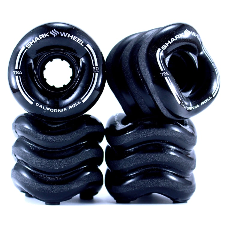 Shark Wheel California Roll 60mm 78A Longboard Wheels - Solid Black