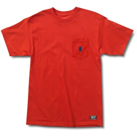 Grizzly Embroidered Pocket T-Shirt - Red/Navy